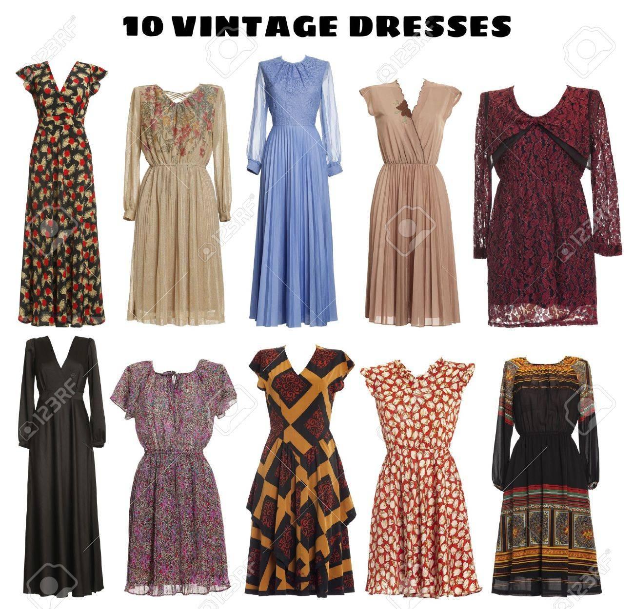 edd76e47e97bf6 10 Mooie Jurken Geïsoleerd - Vintage Look Royalty-Vrije Foto ...