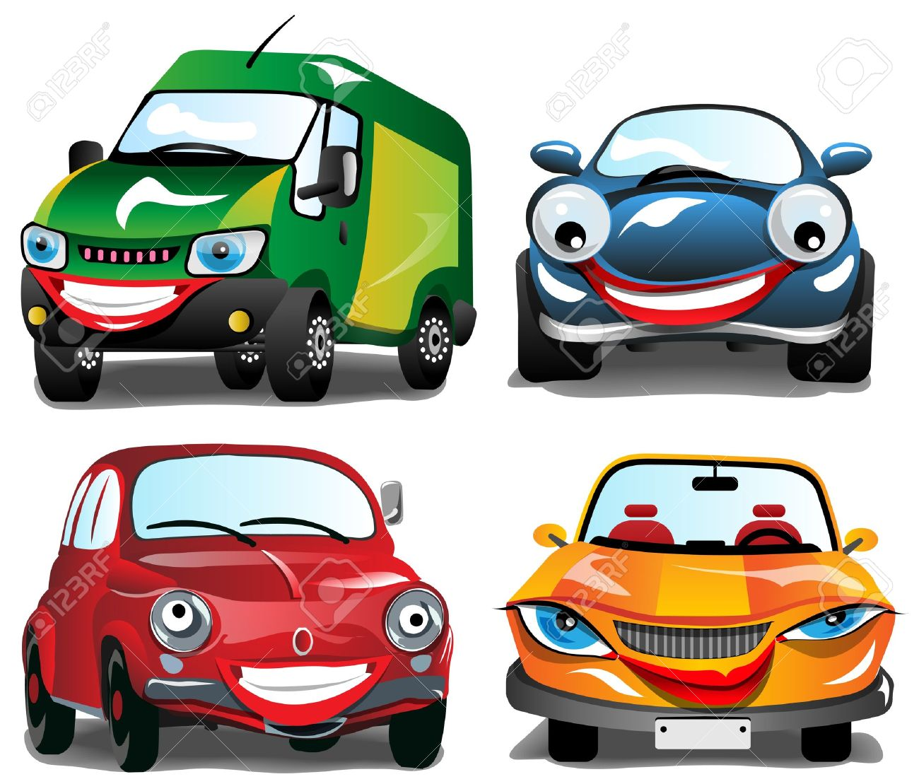 smiling car 4 different smiling cars in 4 colors royalty free