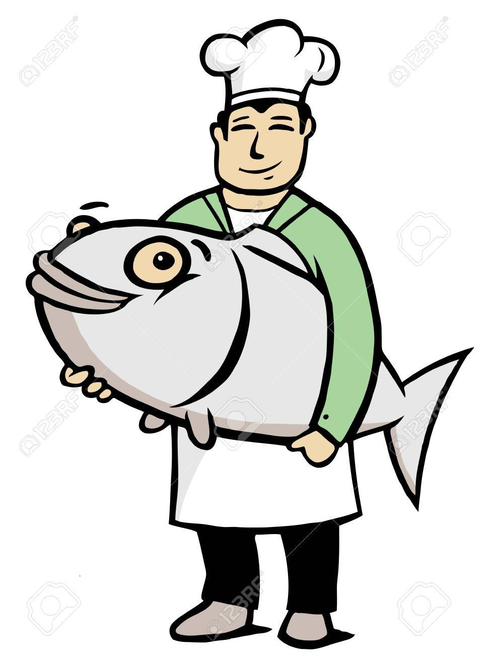 Chef holding a big fish in his hands Stock Vector - 13432320