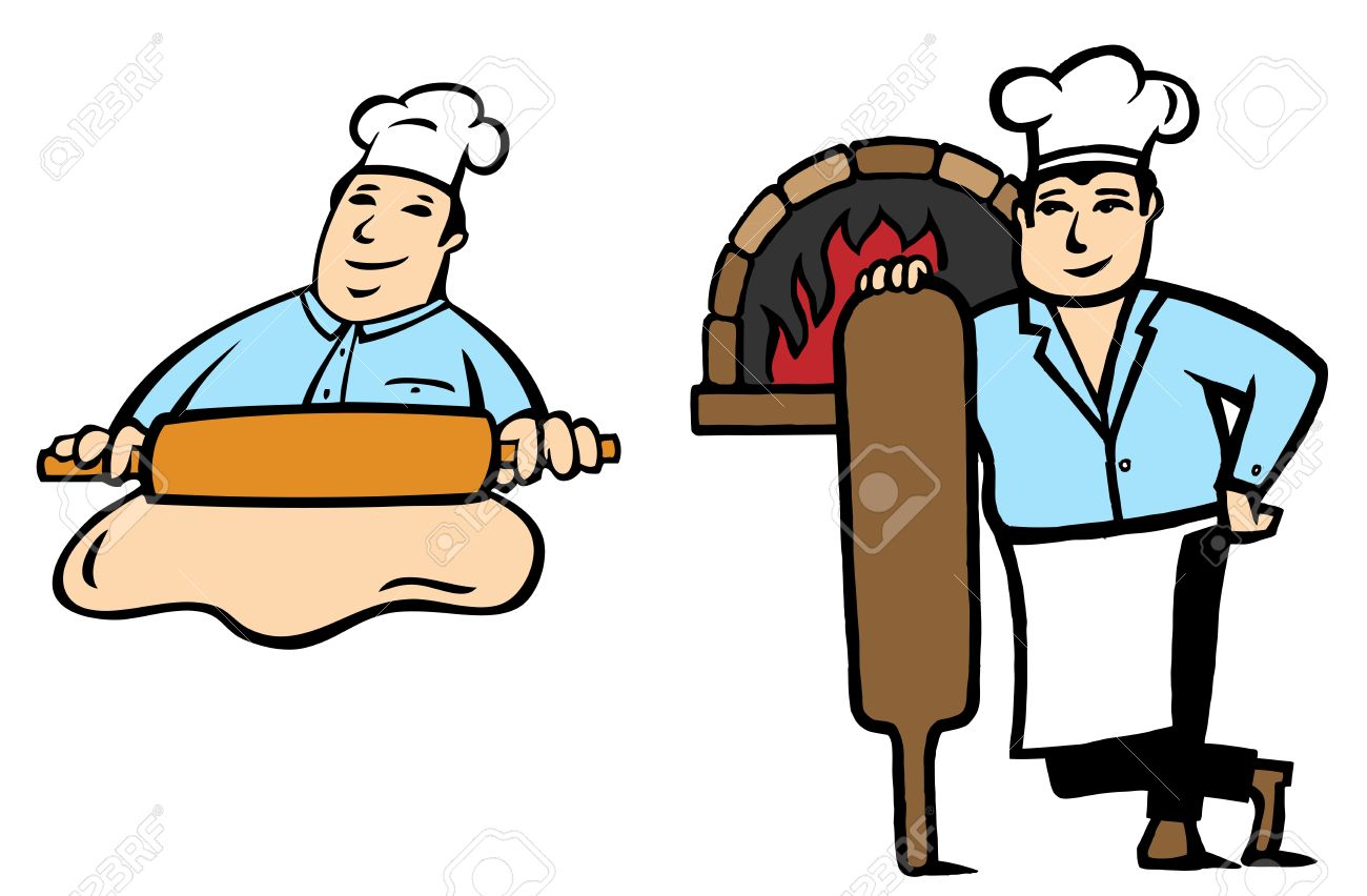 2 positions of a Baker makes bread Stock Vector - 13433017