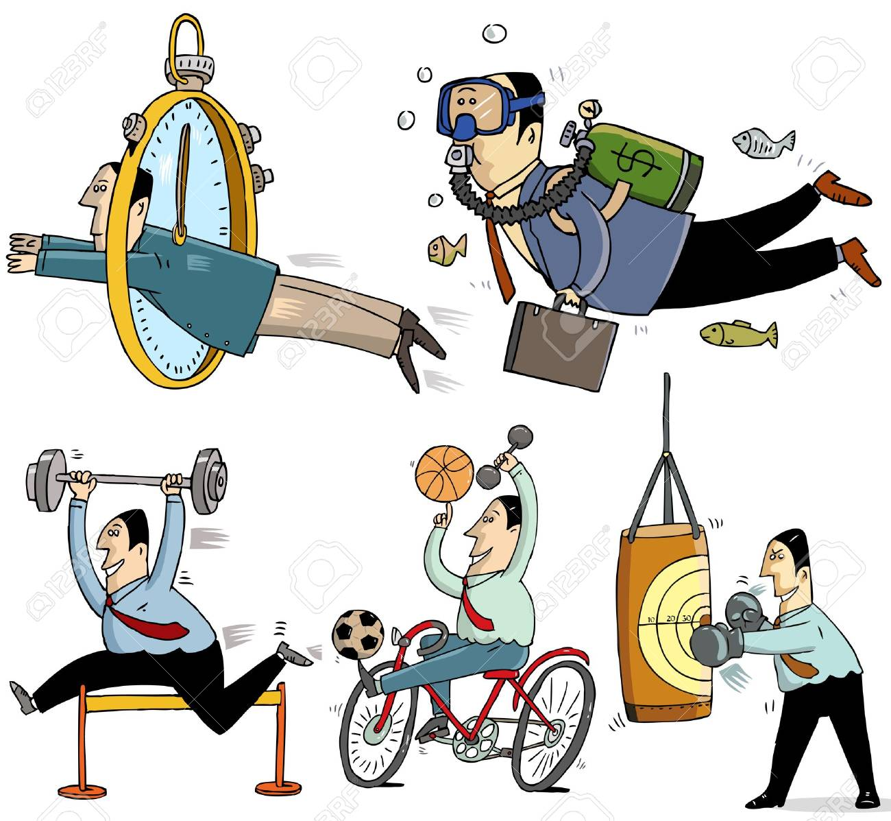 5 businessmen and sport concept Stock Vector - 13500169