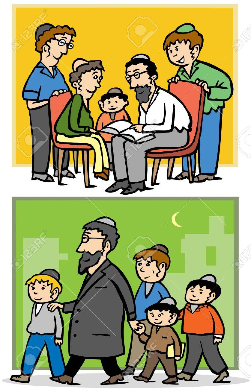 Jewish orthodox family - Father and his children Stock Vector - 13590230