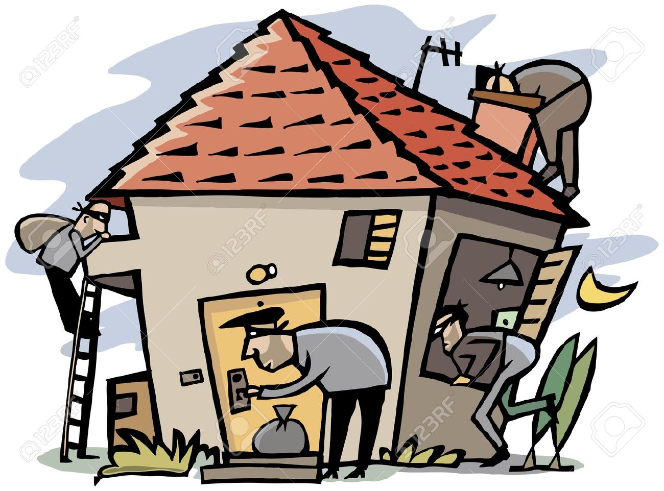 cartoon scene of 4 thieves break into house royalty free cliparts rh 123rf com burglar clip art burglary clip art