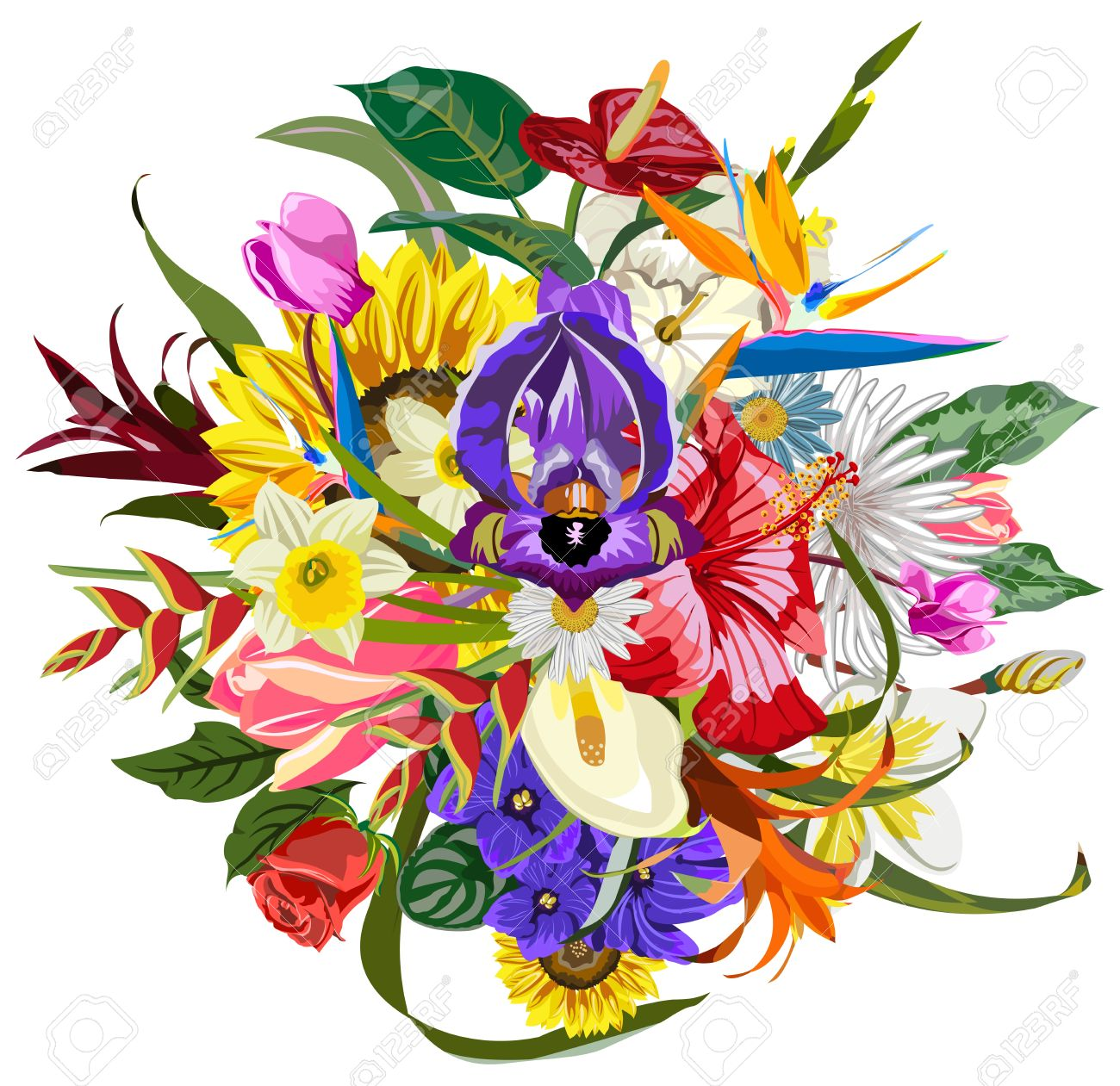 Bouquet of many beautiful and colorful flowers - 17885536