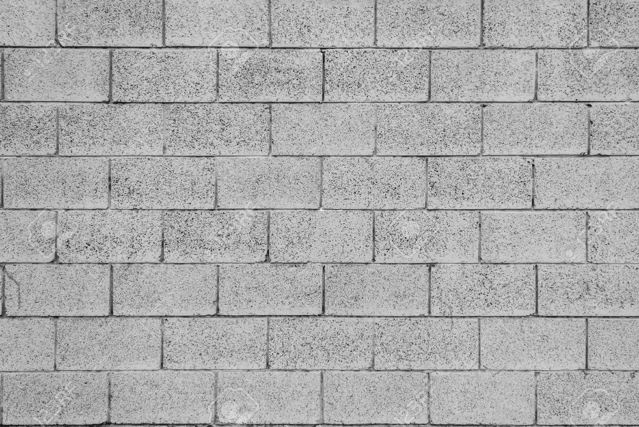 Pattern Of Grey Wall Made Of Concrete Bricks Stock Photo, Picture ...