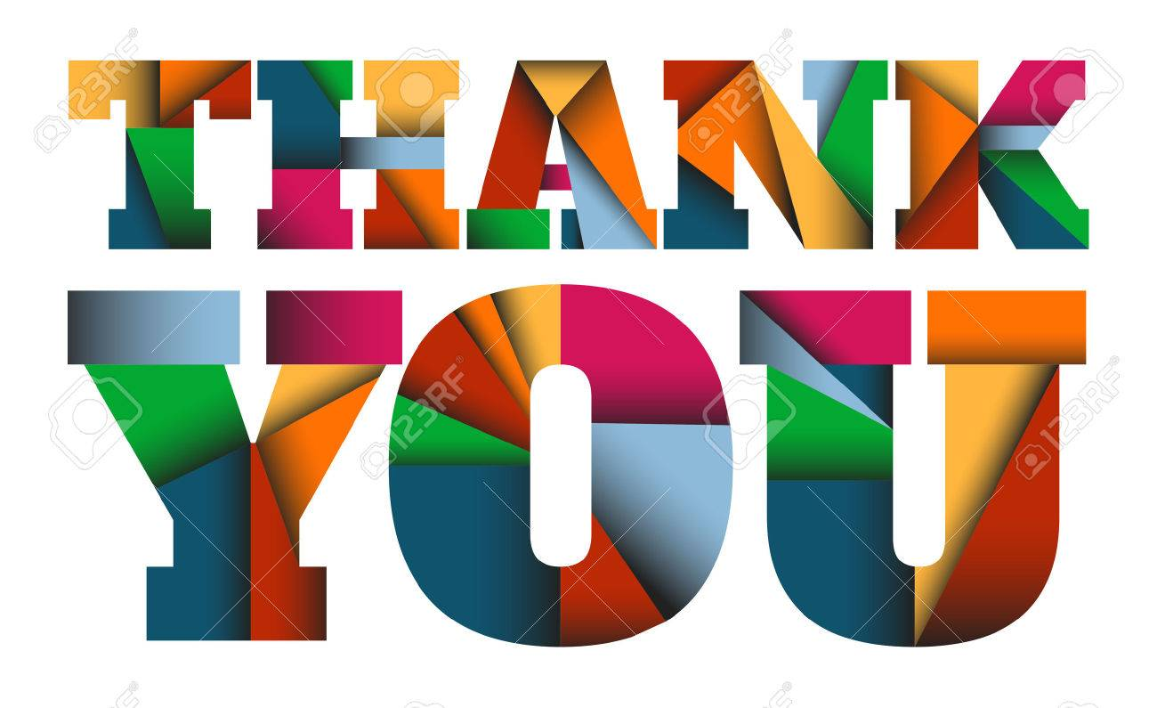 thank you colorful vector letters design with triangles shapes