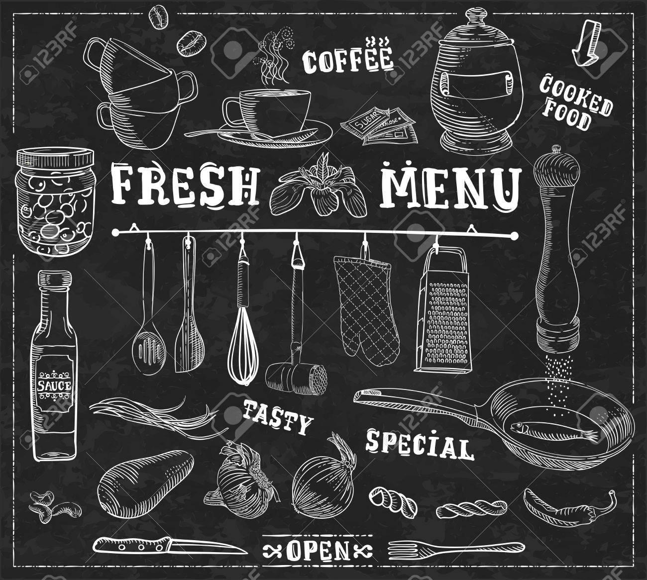 Utensilios De Cocina, Ingredientes Alimentarios Con Subtítulos ...