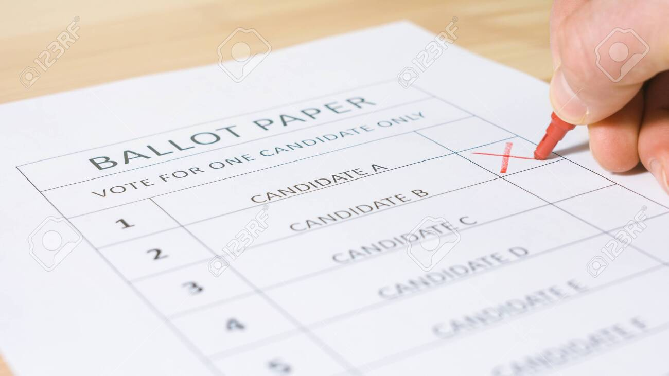 Voting ballot paper for elections. Democracy and decision concept - 143865415