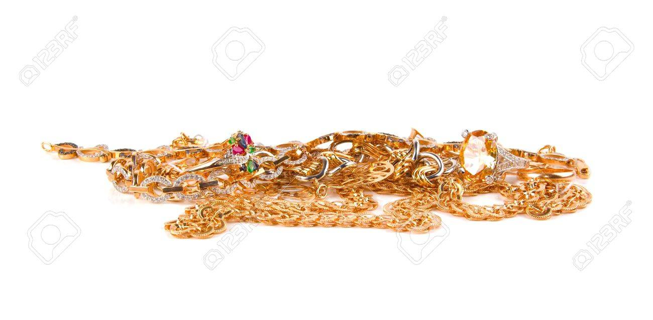 Pile of Gold Jewelry on a white background Stock Photo - 6450522