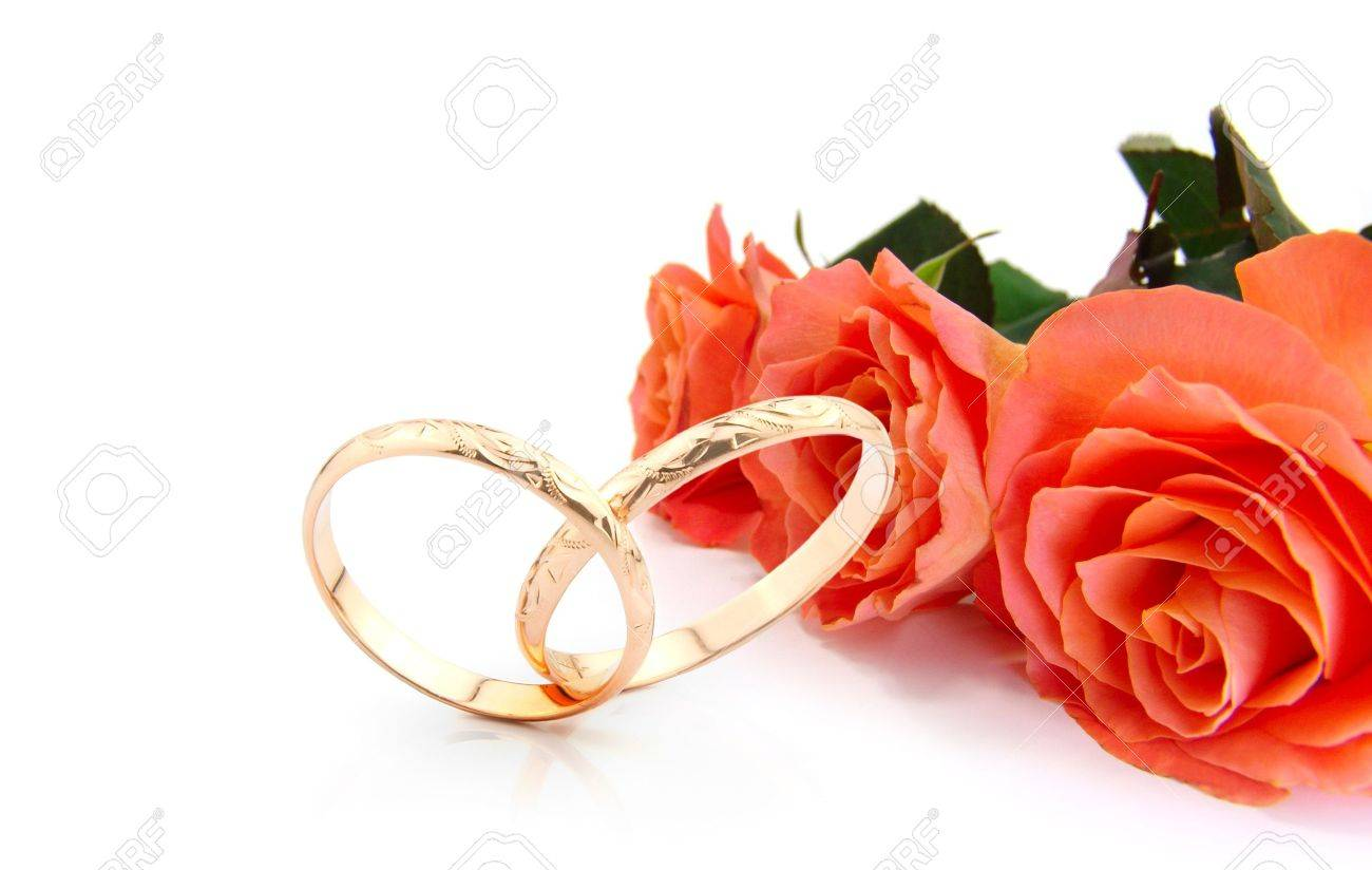 Wedding Rings And Roses On White With Space For Writing (wedding ...