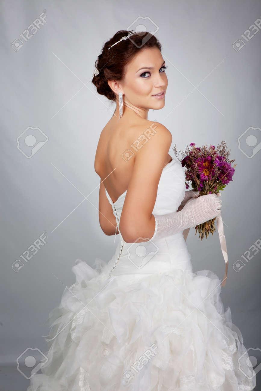 Brunet bride portrait in studio Stock Photo - 11781640
