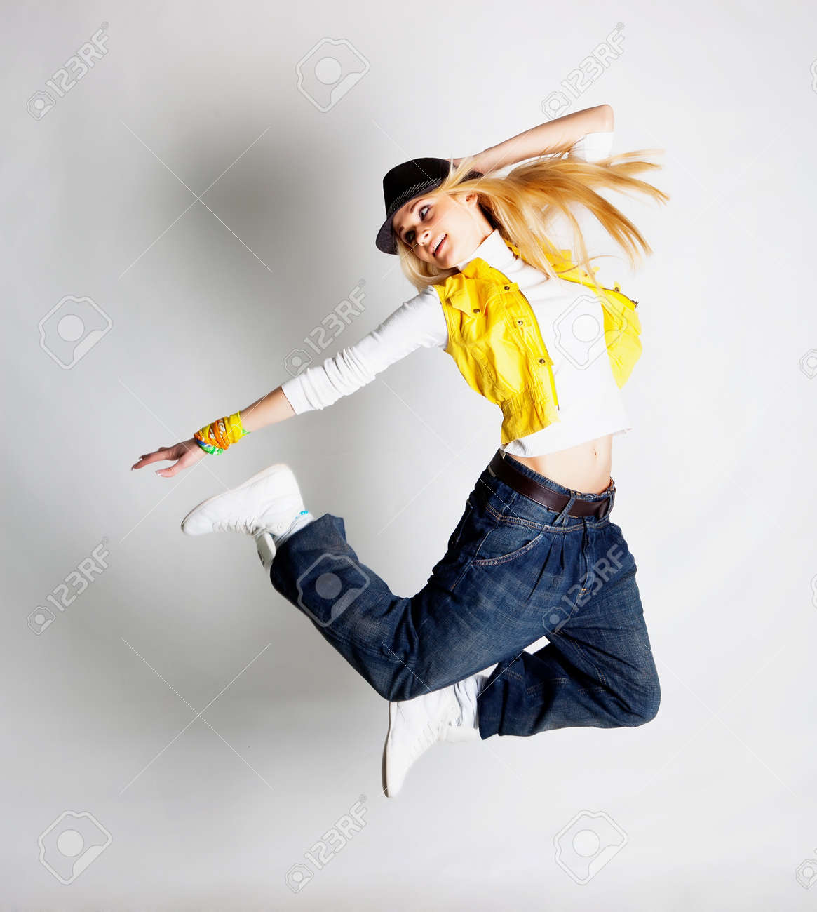 Beautiful Blond Hair Girl Dancing Hiphop Stock Photo Picture And Royalty Free Image Image 12725700
