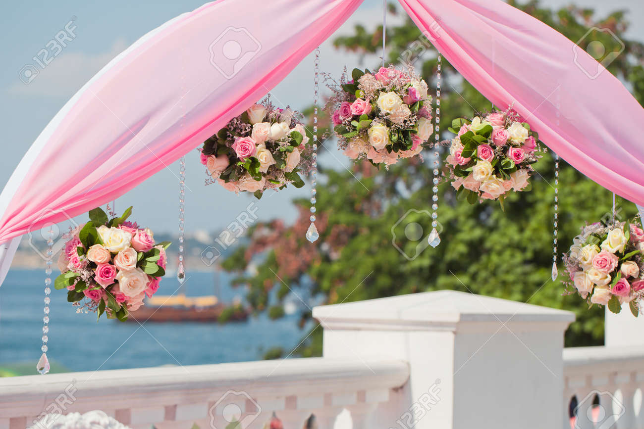 Wedding Arch Decorated Of Blossom Flowers Stock Photo Picture And