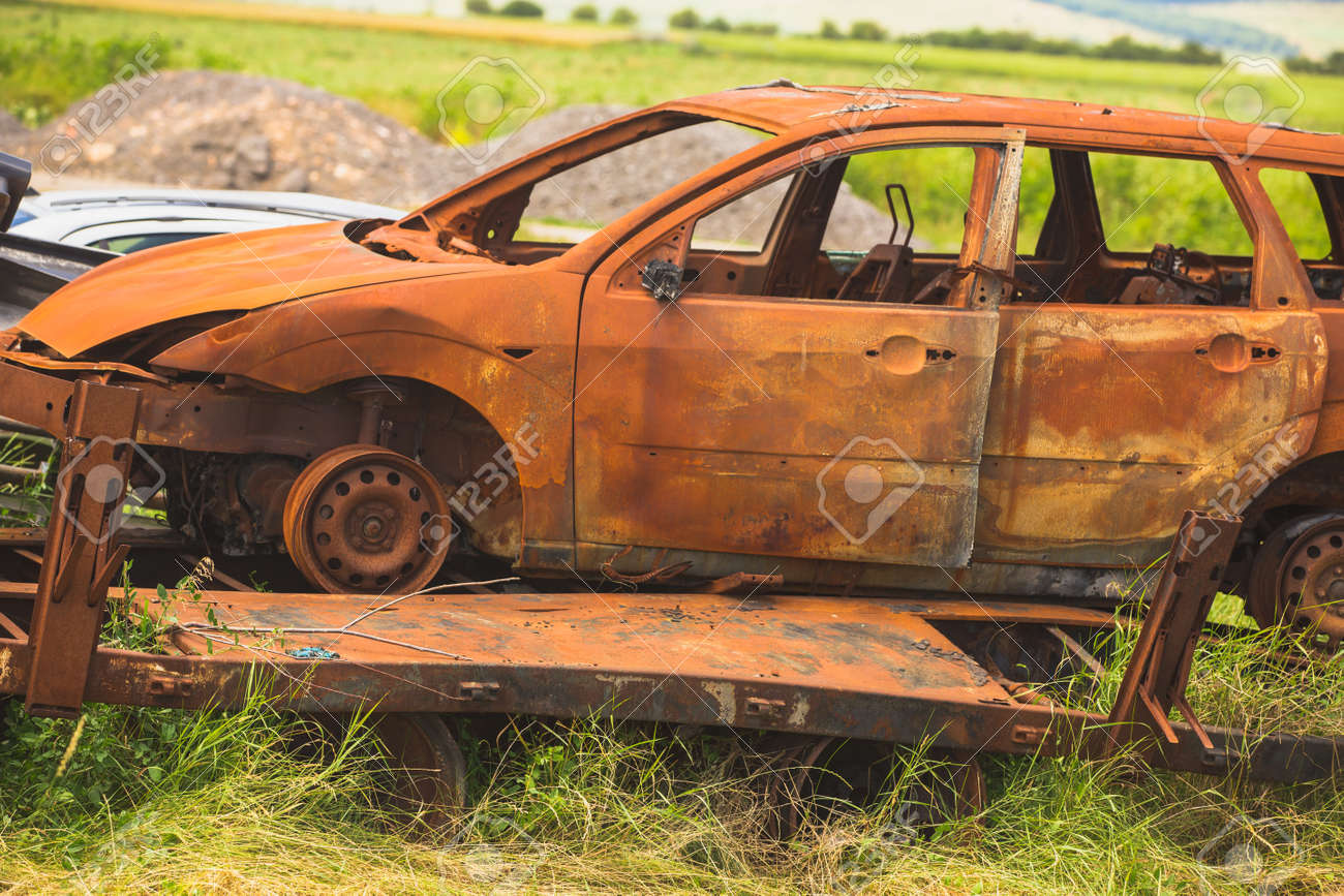 Old Cars On Junkyard In Central Bulgaria Stock Photo, Picture And ...