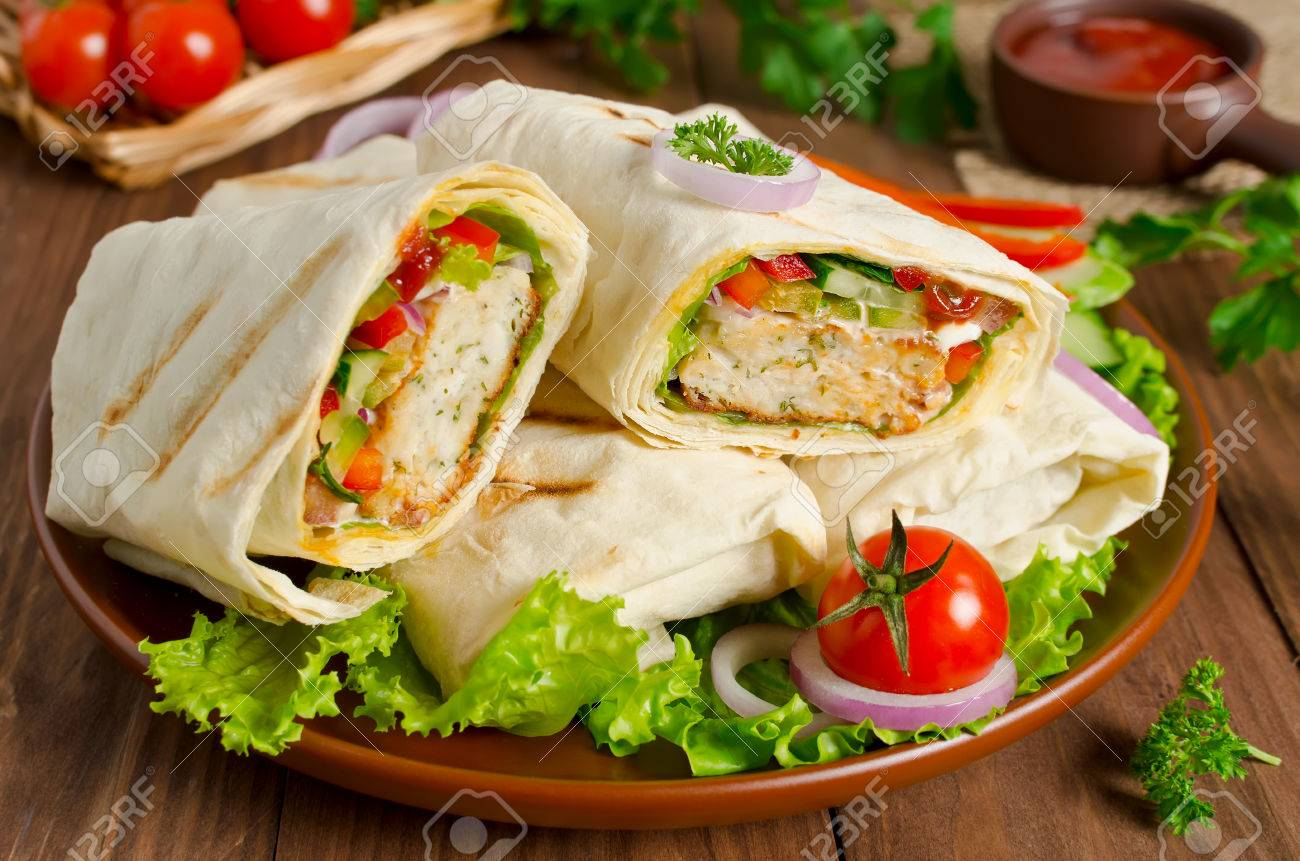 Turkish Doner Kebab Shawarma Roll With Meat Vegetables And Stock Photo Picture And Royalty Free Image Image 56449396