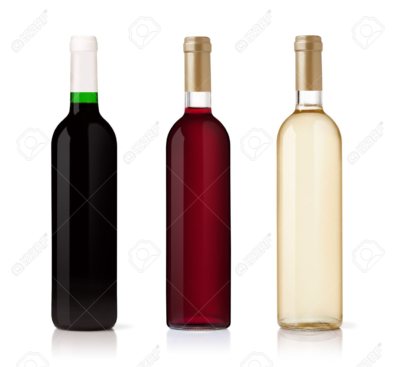set of white rose and red wine bottles isolated on white background stock bottle red wine
