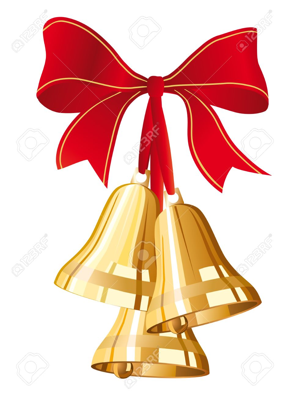 three golden christmas bells with red bow Stock Vector - 10741700