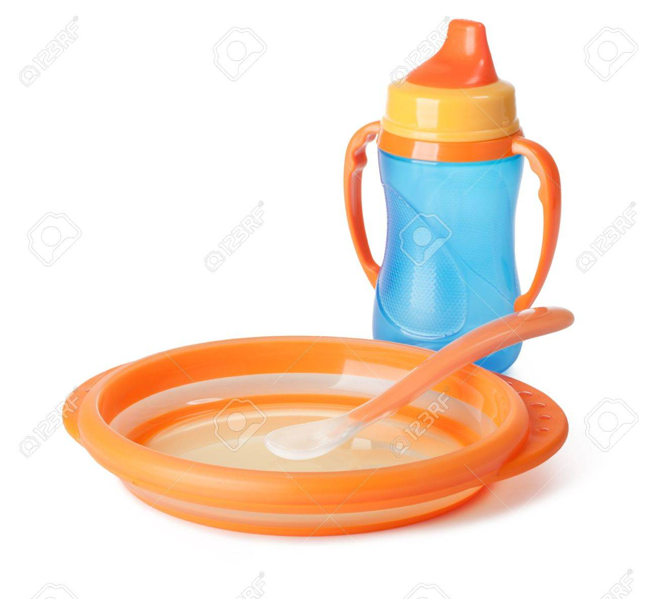 Baby Tableware On A White Background Stock Photo   12454319