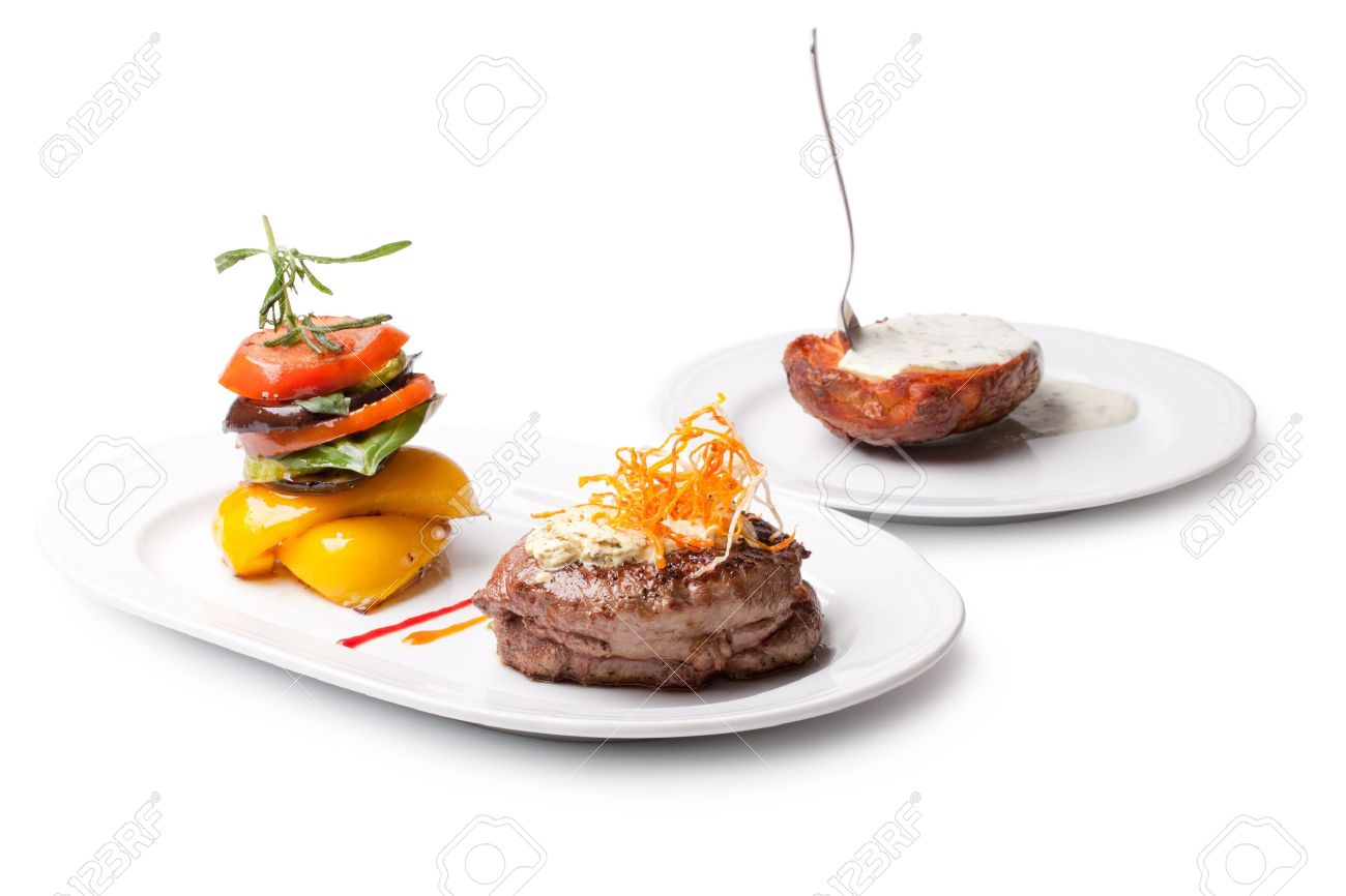 Closeup of a gourmet dinner plate with a steak, vegetables and potatoes Stock Photo - 12765903