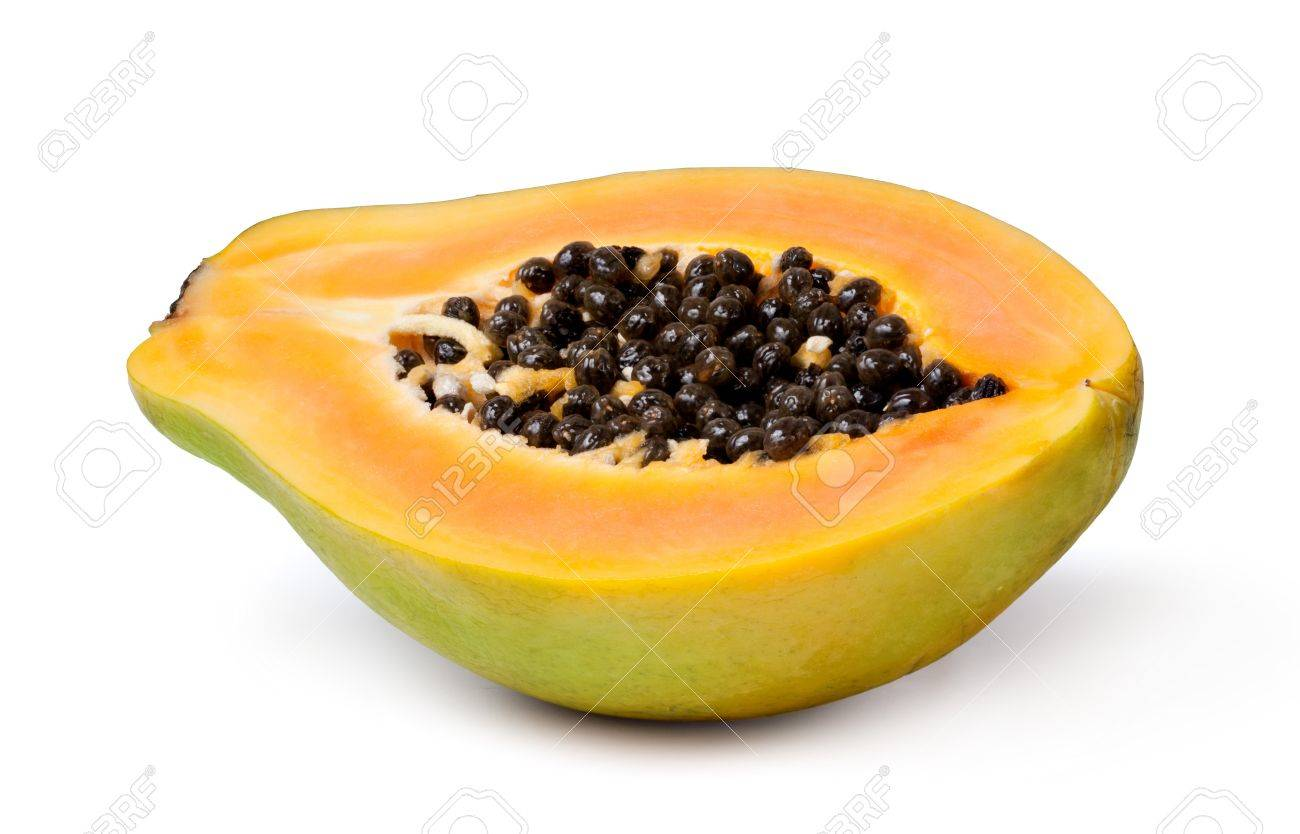 Half Cut Papaya Fruits On White Background Stock Photo Picture And