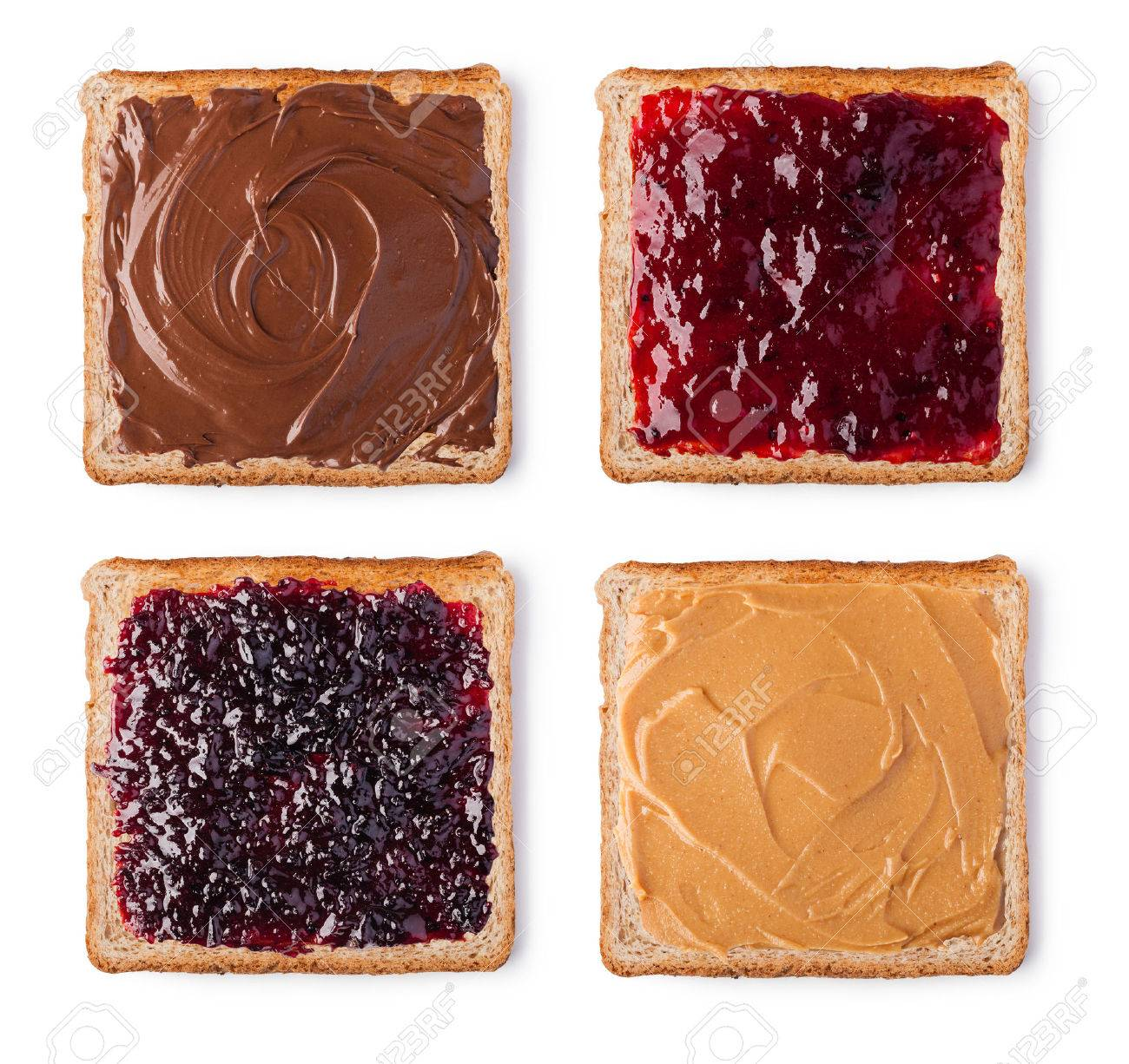 Toast with Chocolate, butter peanut and jam. Isolated on a white background - 53827841