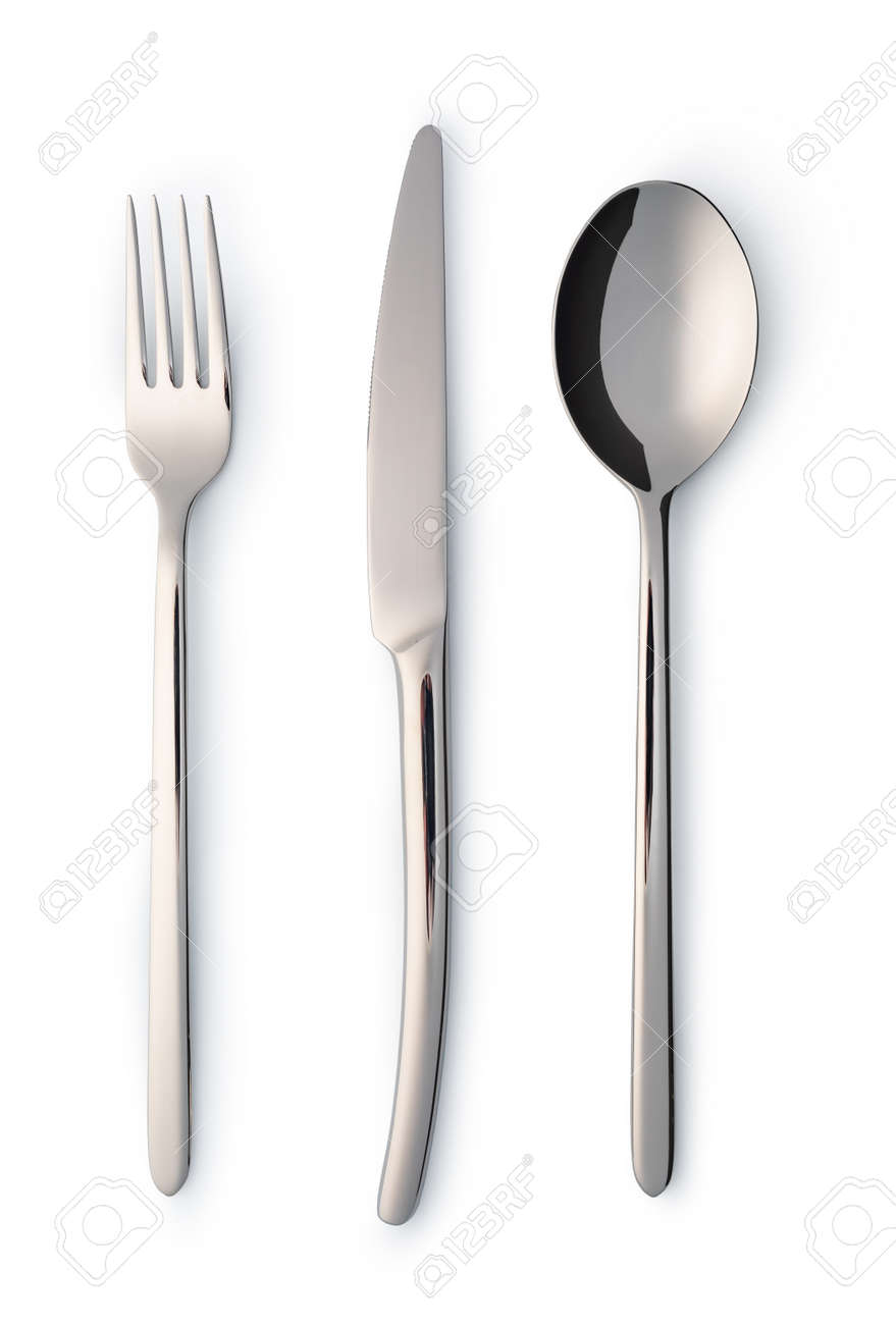 Cutlery set with Fork, Knife and Spoon isolated on white - 140517352