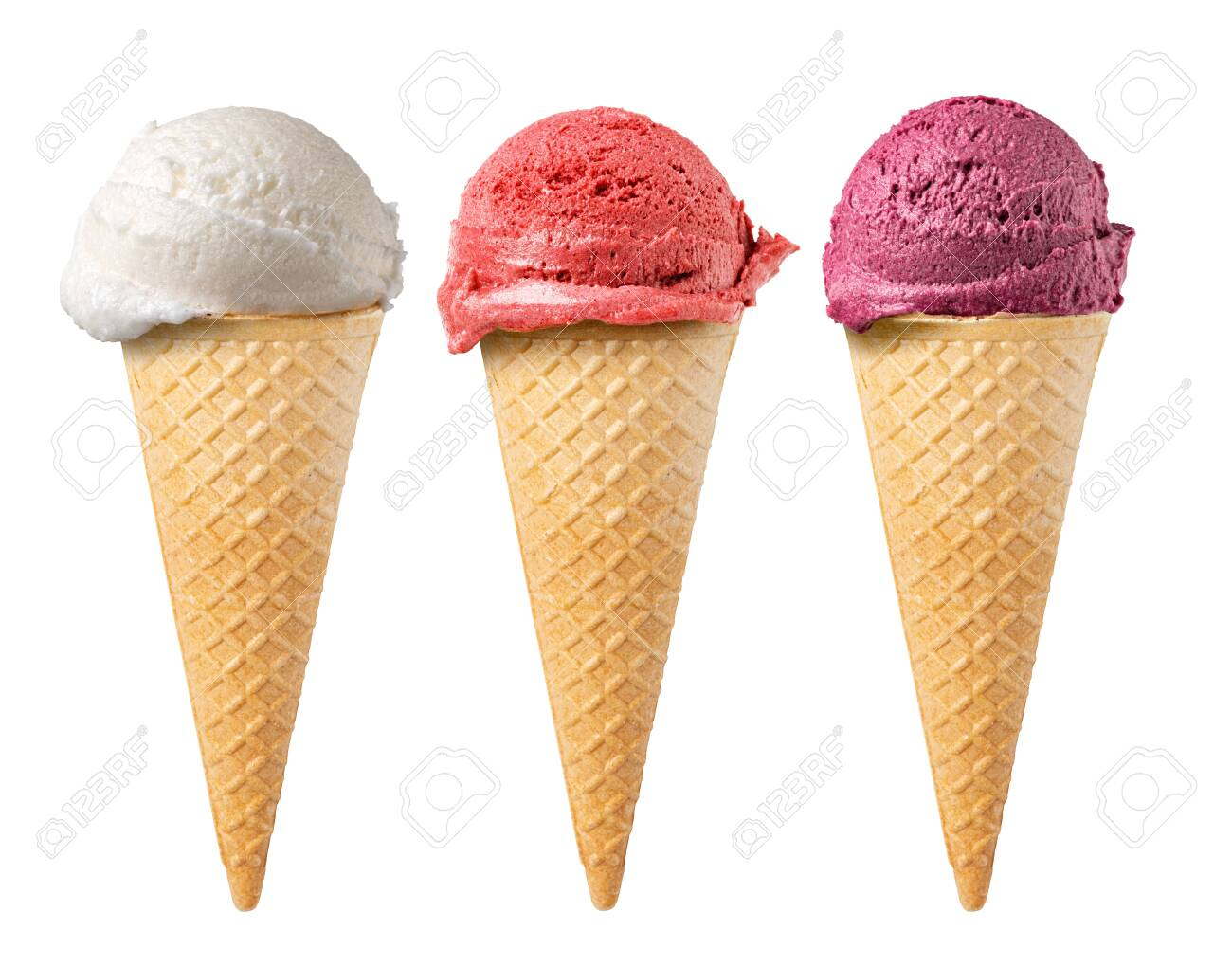 set of ice cream waffle cone isolated on white background - 149200474