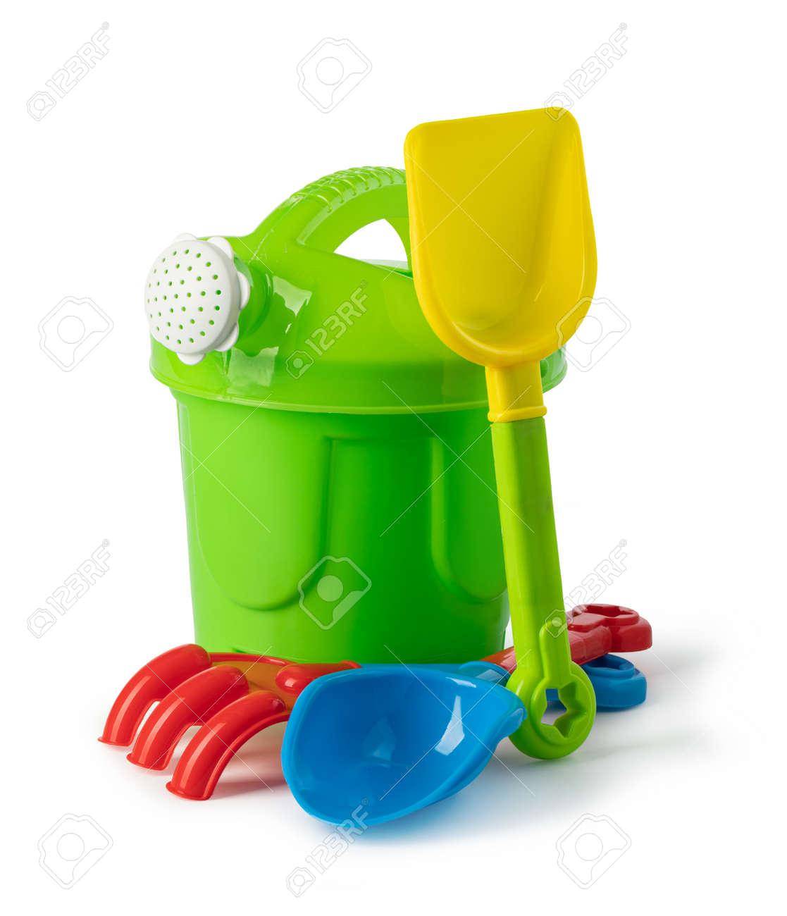 Baby toy bucket and shovel rake isolated on white background - 167779988