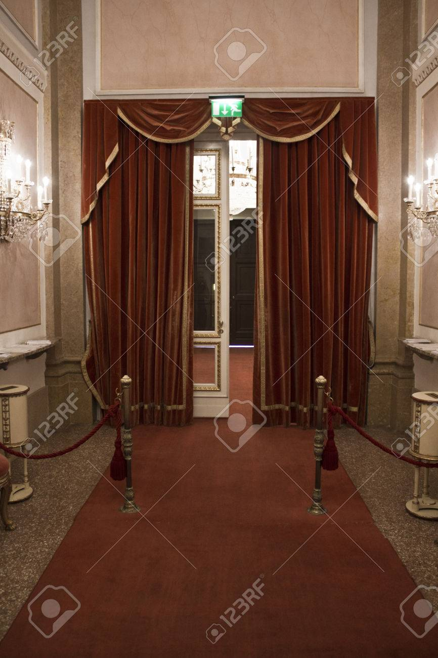 Stock Photo - Venice Italy June 5 2014 La Fenice Theatre door entrance with the traditional red carpet and curtain & Venice Italy June 5 2014: La Fenice Theatre Door Entrance.. Stock ...