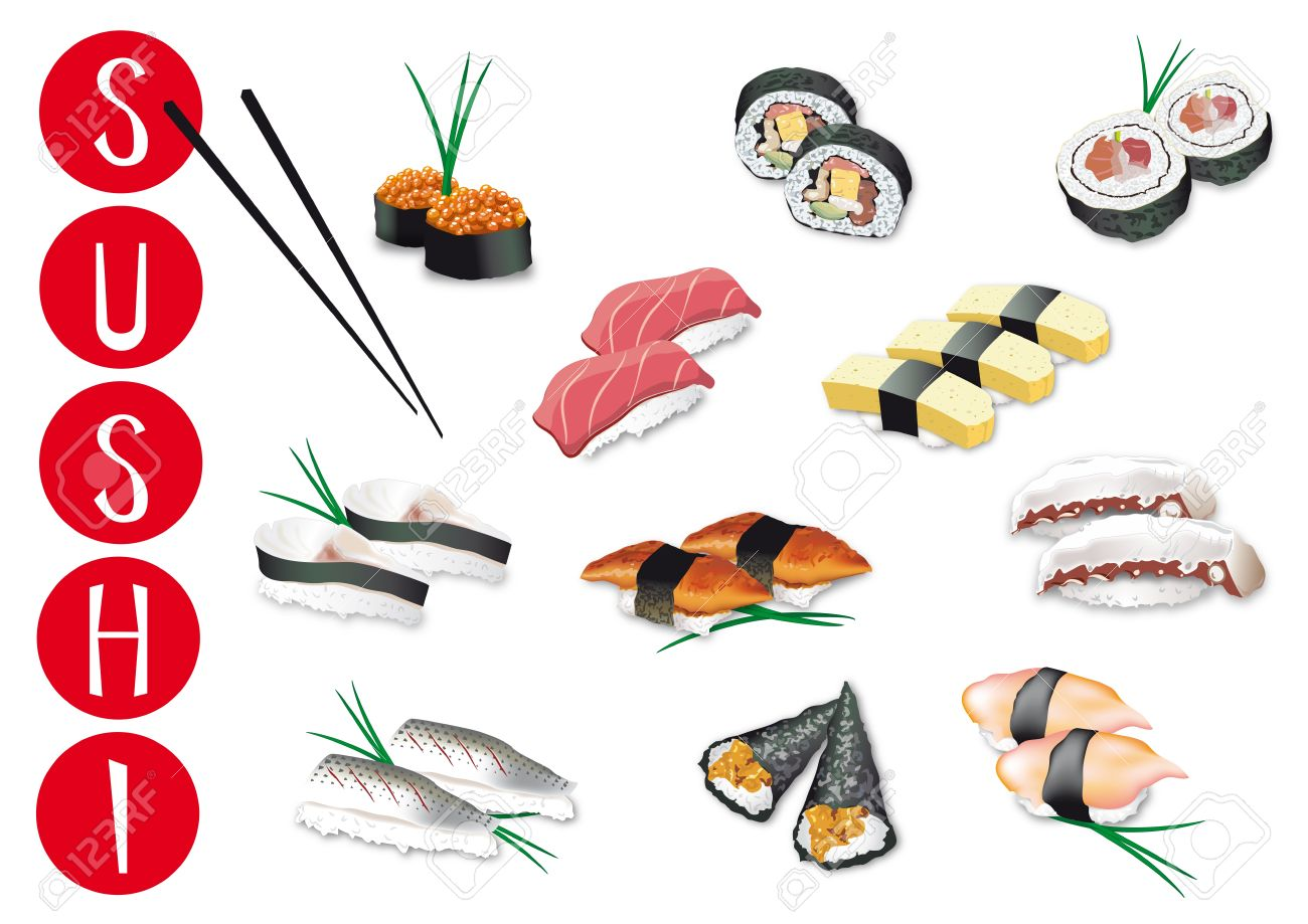 set of pieces of japanese sushi illustrations Stock Vector , 13067396