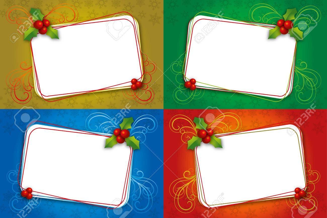 Conjunto De Diferentes Colores En La Tarjeta De Navidad Con Muérdago ...