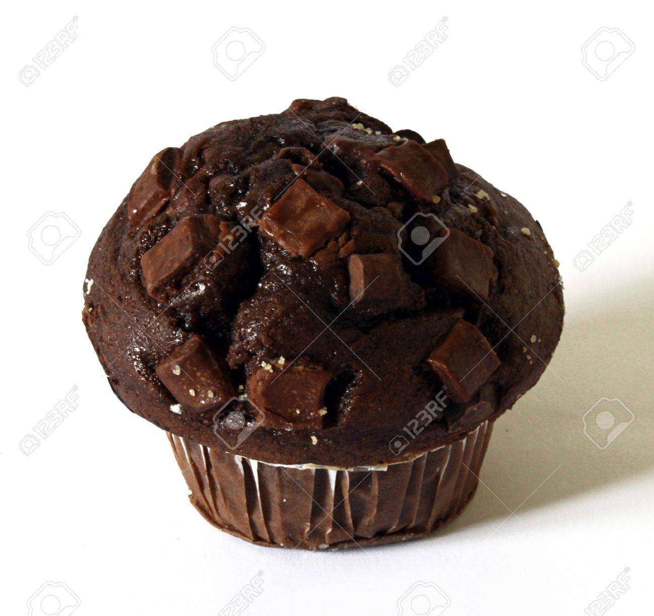 Big Chocolate Muffin On White Background Stock Photo, Picture And ...