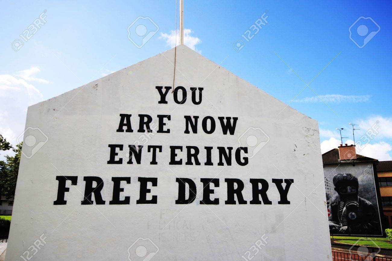 Bloody Sunday memorial wall-paintings road in Londonderry, Ulster, Northern Ireland Stock Photo - 19739142