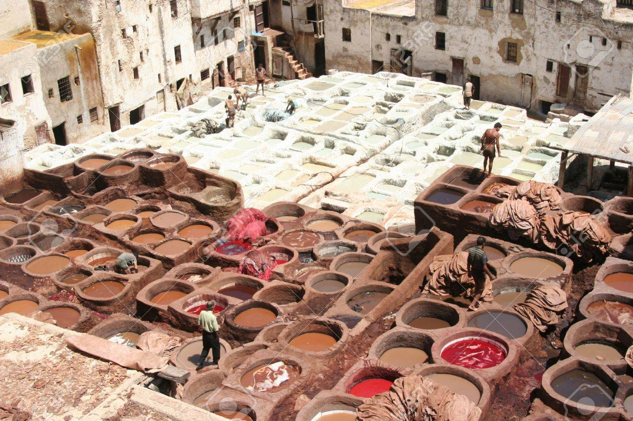 Leather Tanneries Coloring In Fez, Morocco Stock Photo, Picture ...