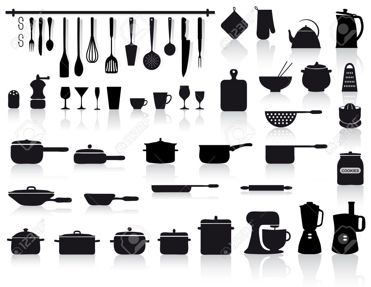archivio fotografico set di icone assortite di utensili da cucina vasellame e posate in nero