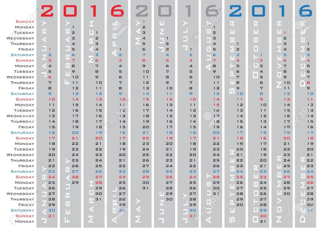 vertical days calendar 2016 english language royalty free cliparts