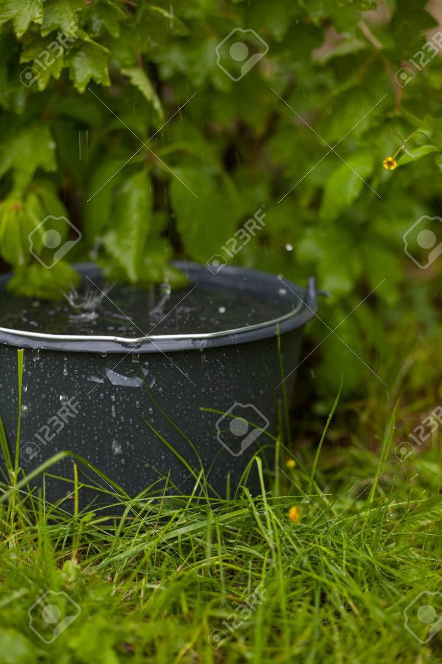 das sammeln von regenwasser in einen überquellenden eimer im gras