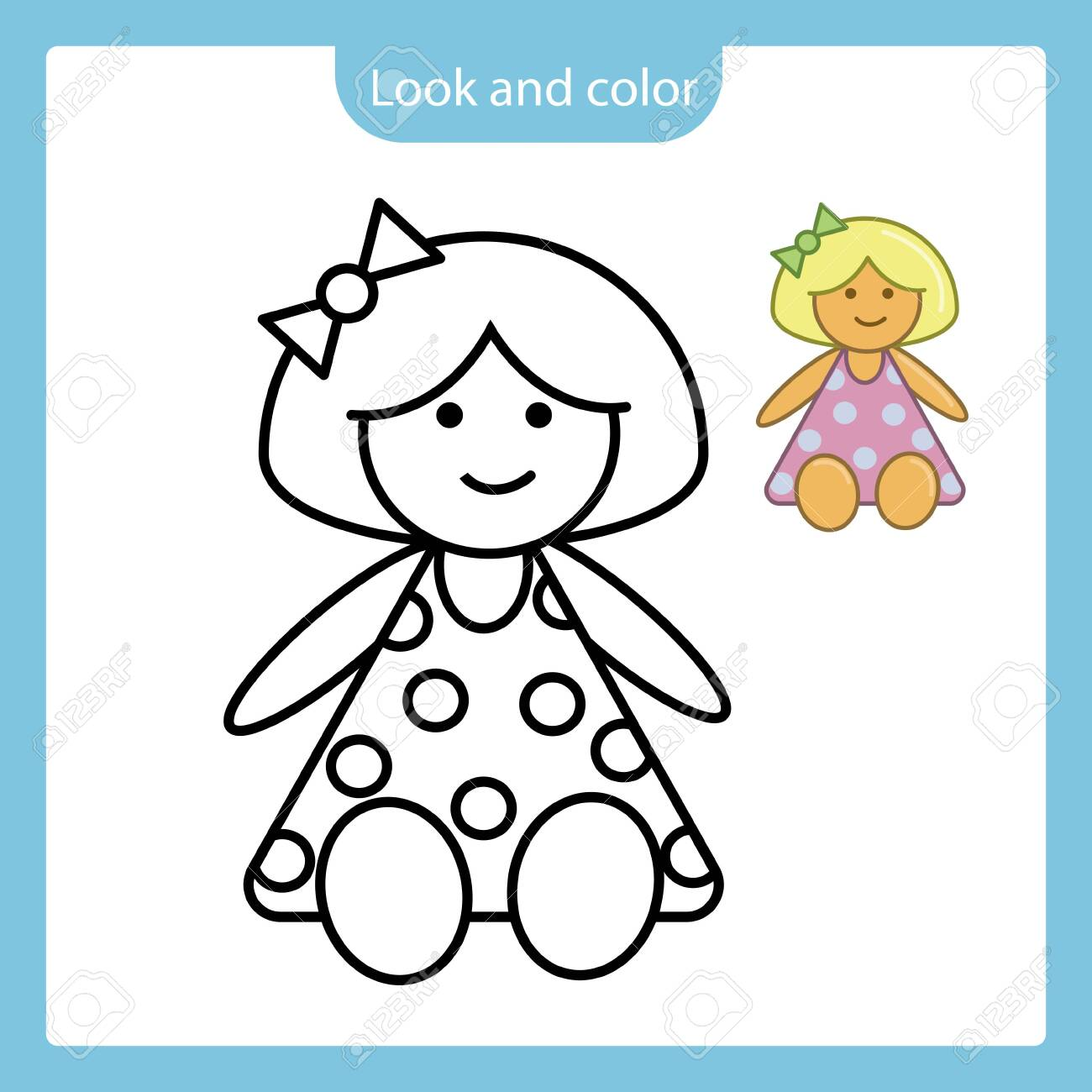 Look And Color Coloring Page Outline Of Doll Toy With Example Royalty Free Cliparts Vectors And Stock Illustration Image 140908959