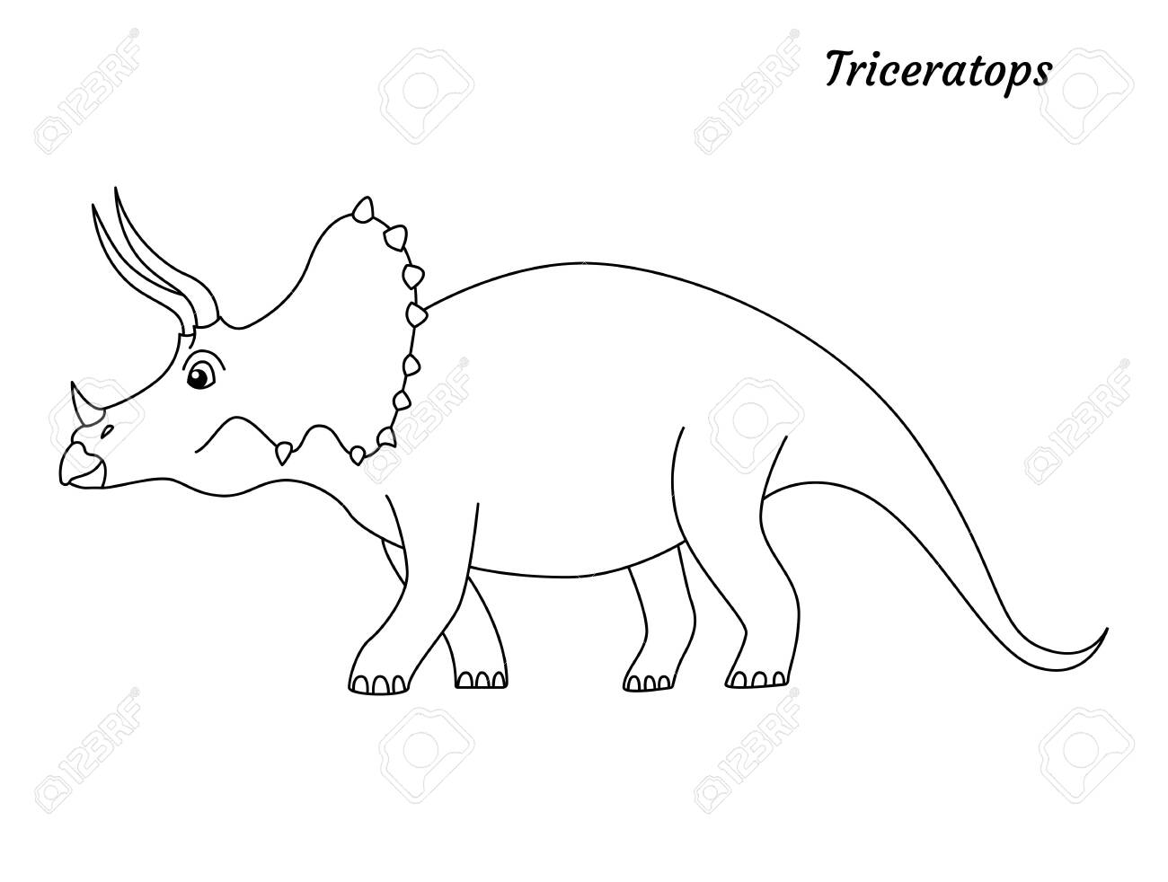 Coloring Page Outline Triceratops Dinosaur Vector Illustration Royalty Free Cliparts Vectors And Stock Illustration Image 143409636