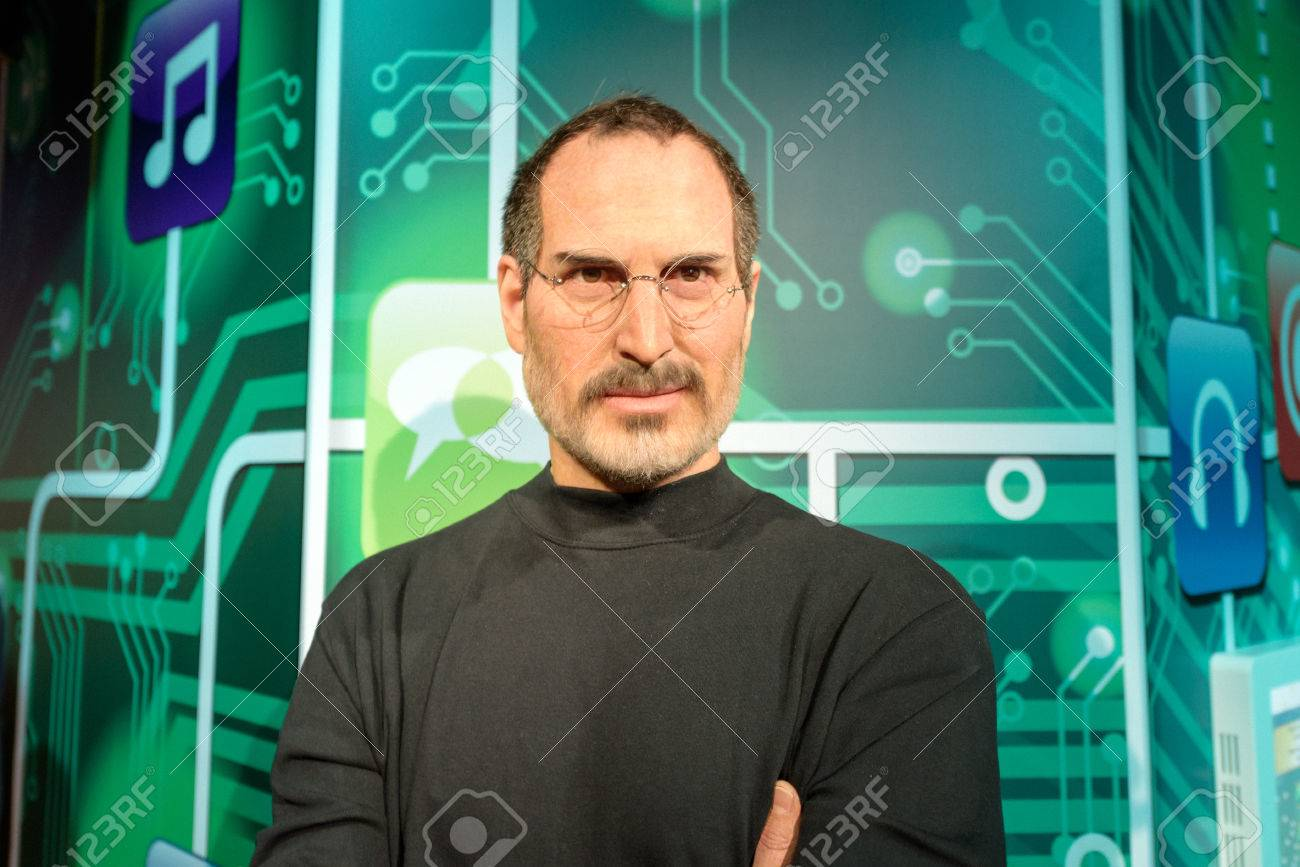 ISTANBUL, TURKEY - DECEMBER 3, 2016: Steve Jobs wax figure at Madame Tussauds wax museum in Istanbul. Steve Jobs was the co-founder, chairman, and chief executive officer of Apple Inc. - 69960778