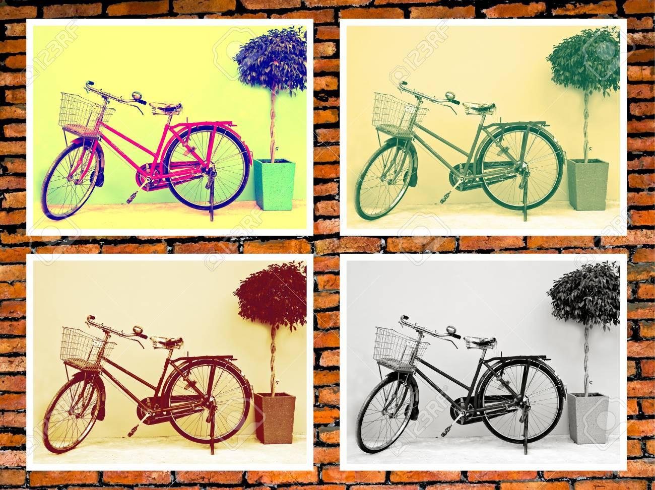 Classic Bicycle Photo On Brick Wall. Home Decor Ideas. Stock Photo ...