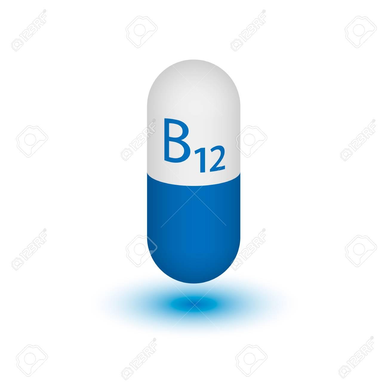 Vitamin B12 shot  Cyanocobalamin  Two-tone capsule on a white