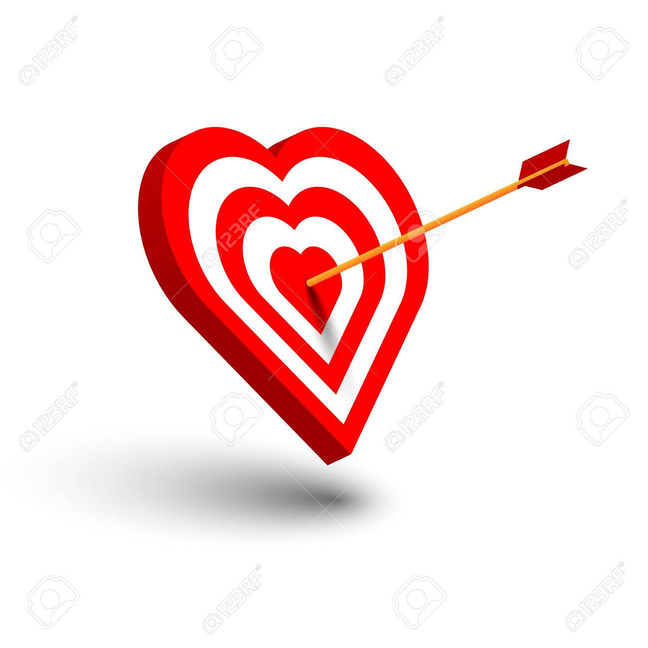 Happy Valentines Day Concept With 3d Arrow Hit Target In Heart