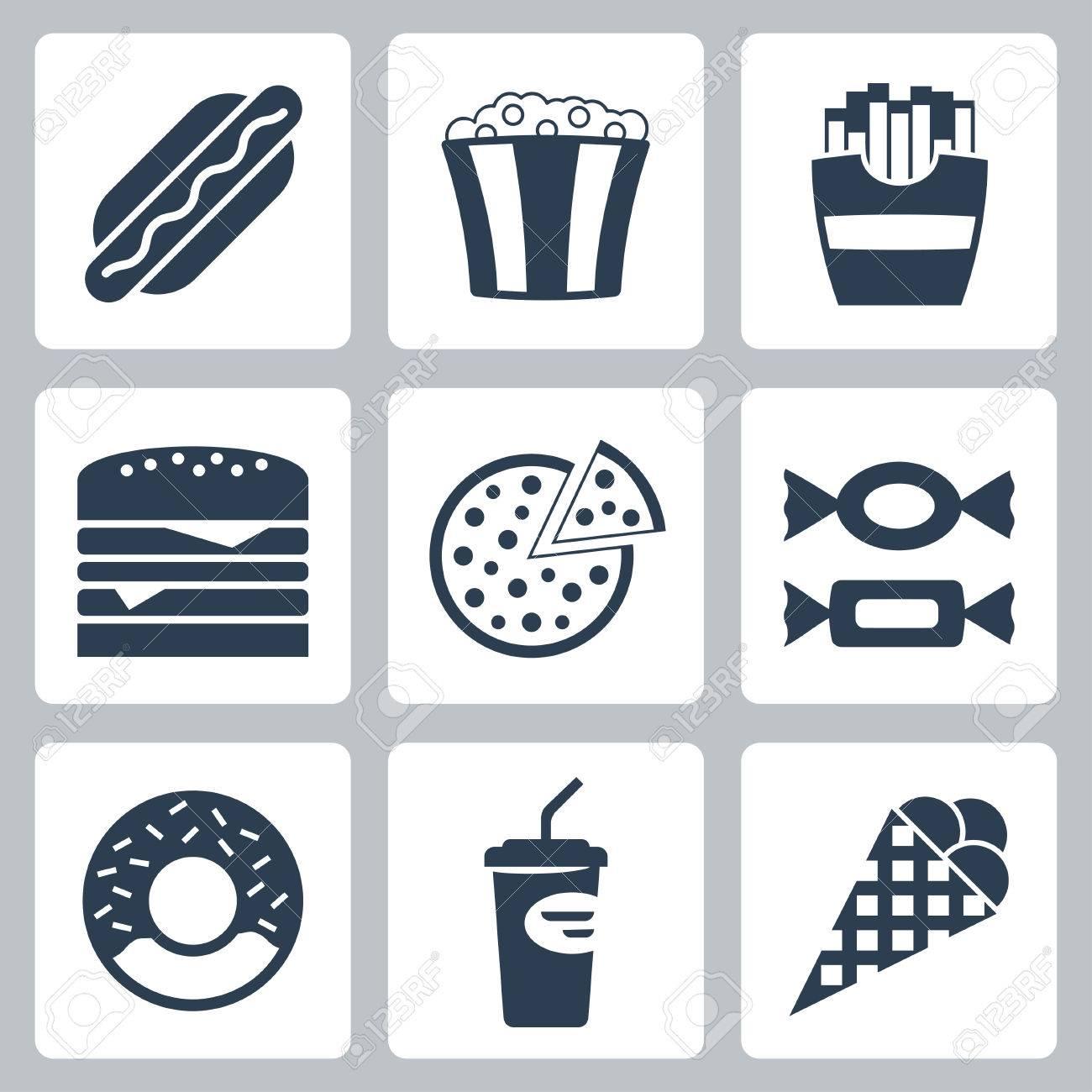 Vector junk food icons set Stock Vector - 23520705