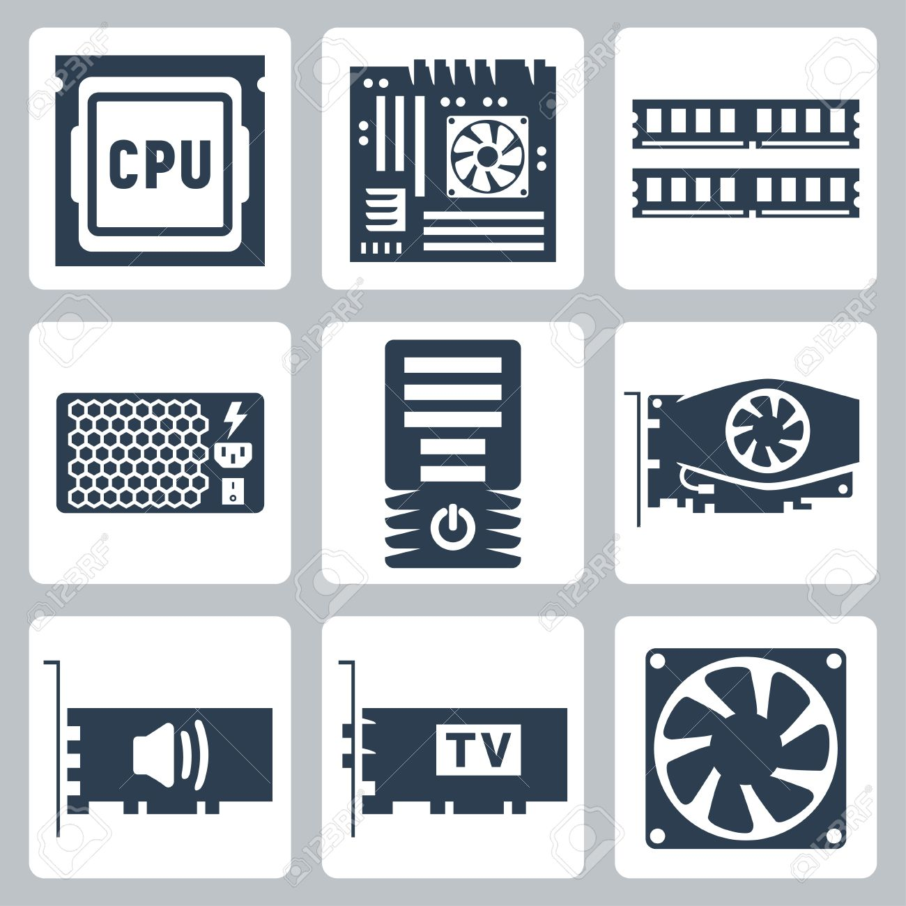 vector hardware icons set cpu motherboard ram power unit royalty free cliparts vectors and stock illustration image 23520717 vector hardware icons set cpu motherboard ram power unit