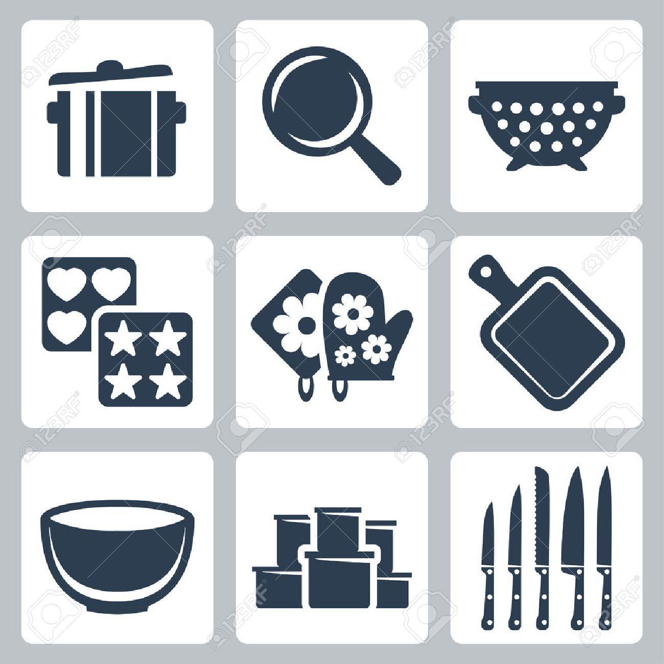 Vector Aislados Iconos Utensilios De Cocina Conjunto Olla, Sartén ...
