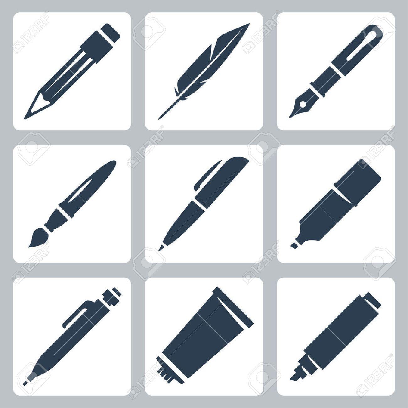 Vektor-Schreib-und Zeichenwerkzeuge Symbole Gesetzt: Bleistift ...