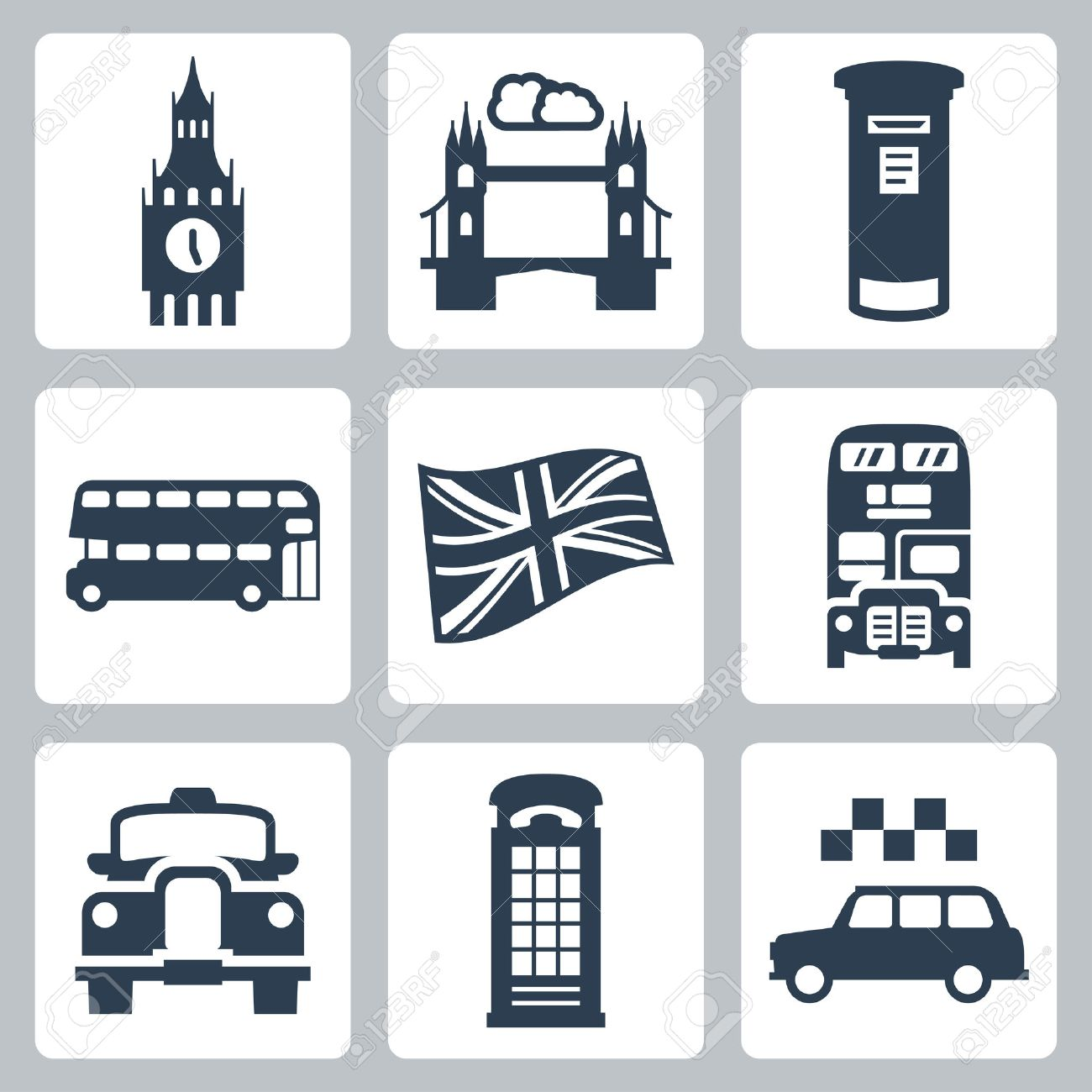 vector great britain london icons set royalty free cliparts
