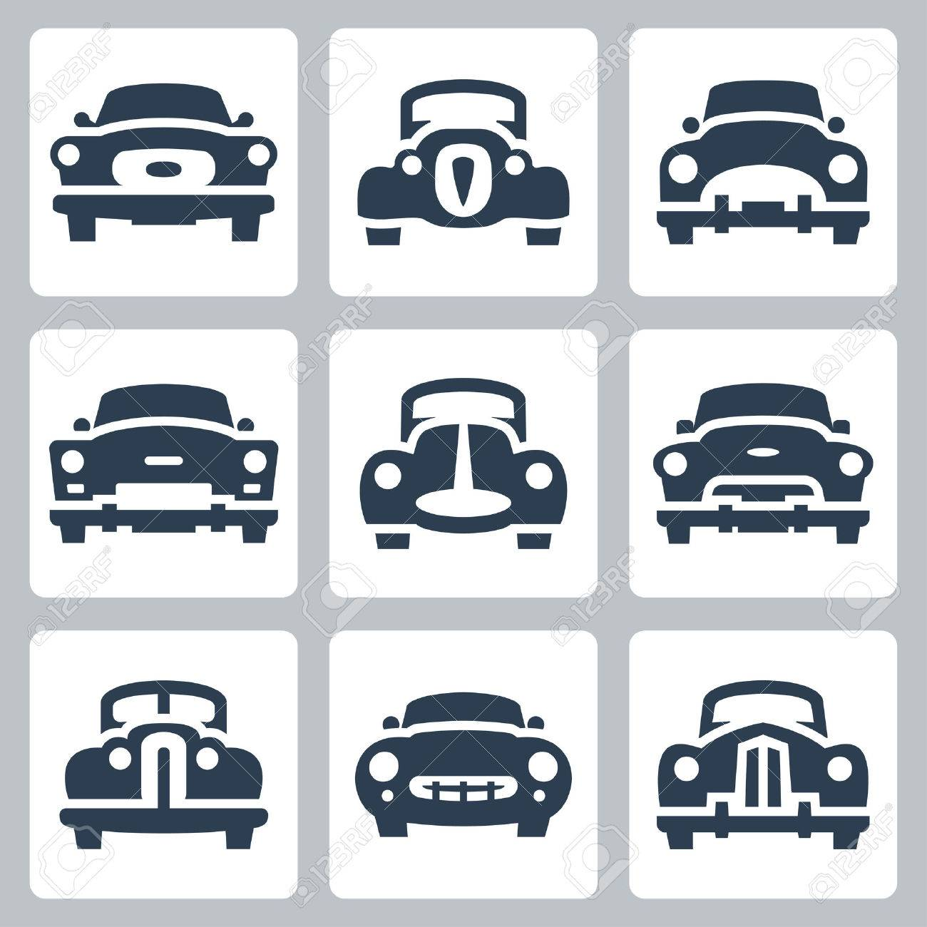 Vector old cars icons set, front view - 27426070