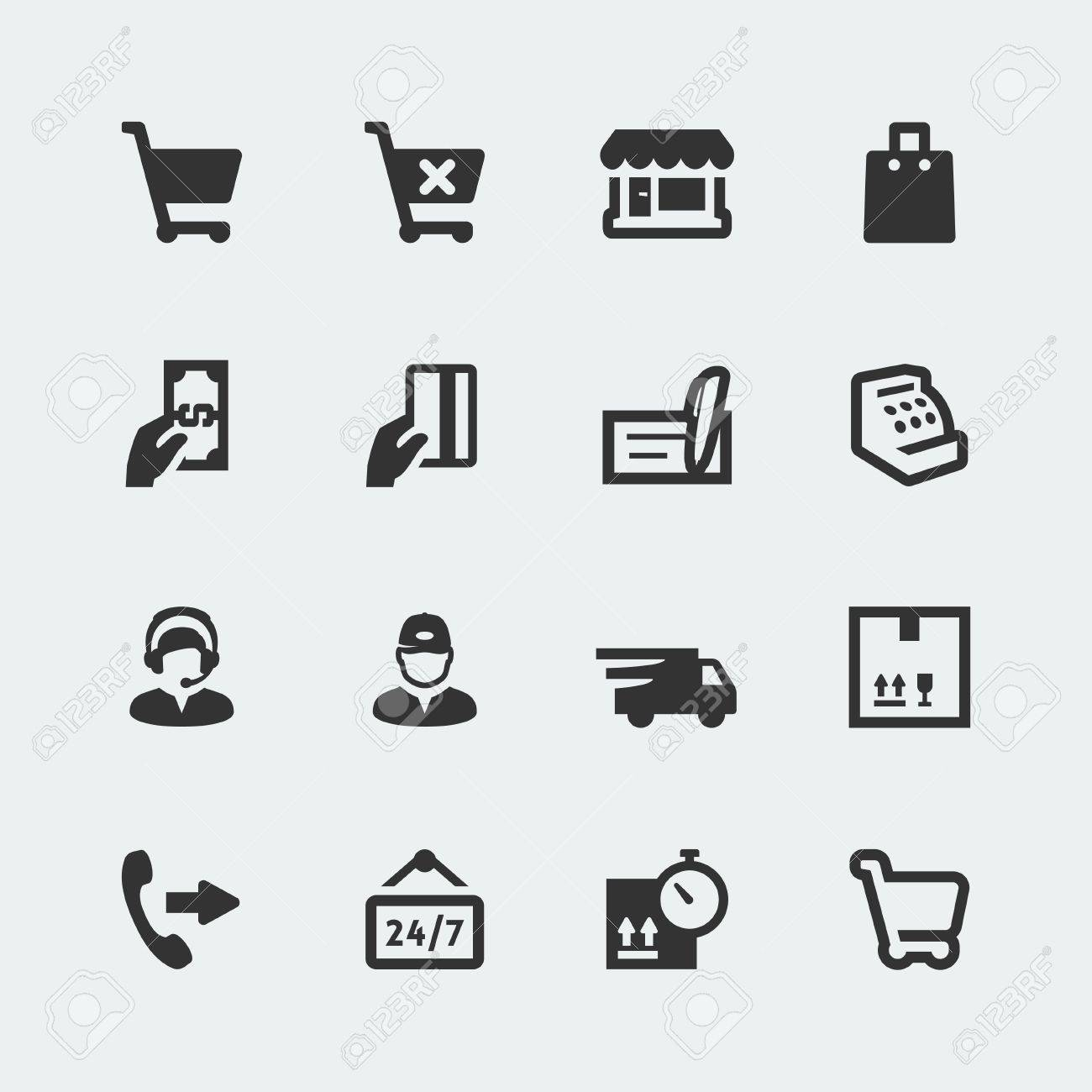 Vector shopping and e-store mini icons set - 27426076